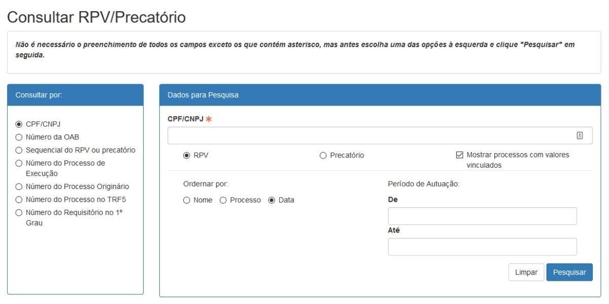 consultar rpf precatorio no trf5 site precato