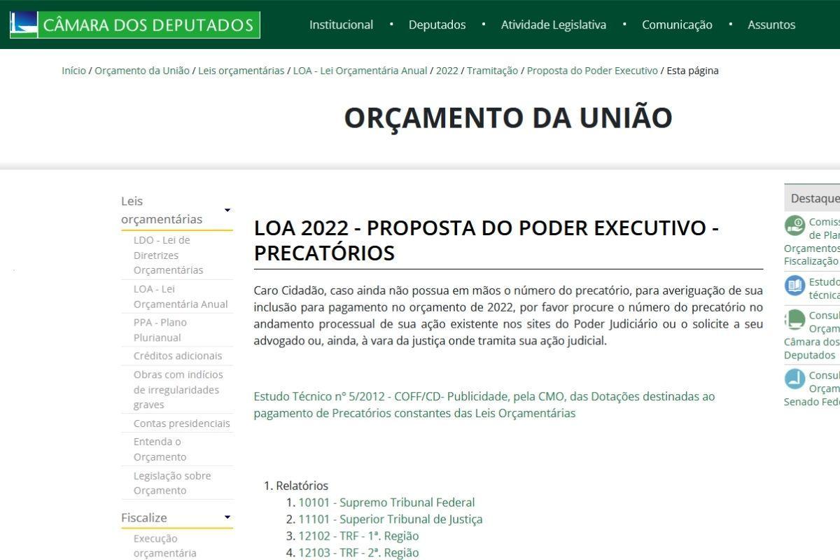 precatorio federal 2021 previsao de pagamento loa 2022 cmo precato